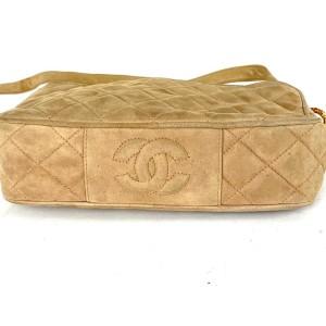 Chanel Camera Fringe Tassel Quilted 28ca530 Beige Suede Cross Body Bag