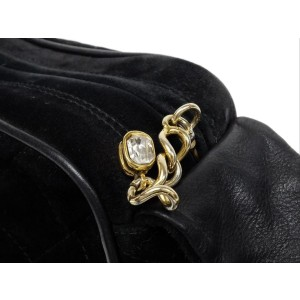 Chanel Camera Bag Black Suede Knot  Quilted Jewel 210857