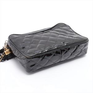 Chanel Black Quilted Patent Fringe Tassel Camera Bag Crossbody Chain 321ca517
