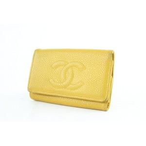 Chanel Caviar Key Holder 228566 Yellow Leather Clutch