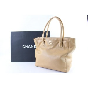 Chanel Cerf Caviar Leather 5cr0105 Beige Tote