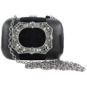 Chanel 15a CC Embellished Crystal Kisslock Minaudiere Crossbody Chain Bag