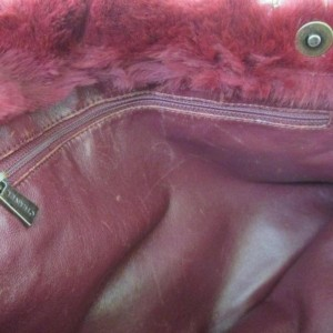 Chanel Chain 865809 Red Rabbit Fur Tote
