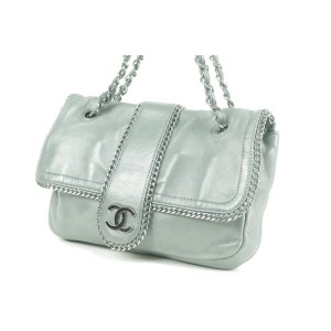 Chanel Chain Around Chain Flap 7ck0103 Grey Leather Shoulder Bag
