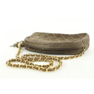 Chanel Quilted Brown Suede Fringe Tassel Camera Chain bag 7cas5