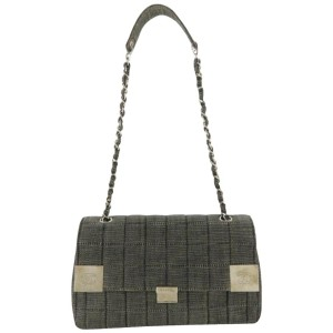 Chanel Charcoal Quilted Chocolate Bar Chain Flap 870547 Grey Denim Shoulder Bag