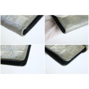 Chanel Chocolate Bar Charm Long Bifold Wallet 14cz0815 Silver Leather Clutch