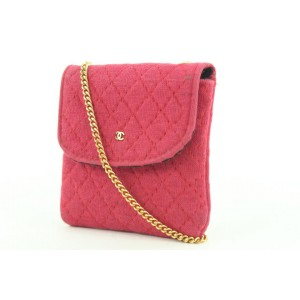 Chanel Micro Quilted Red Mini Classic Flap Chain Bag or Necklace 272ccs216