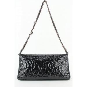 Chanel Black Patent Leather Camellia Medium Chain Flap Bag 814cas47