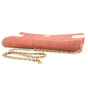 Chanel Large Red Quilted Denim Chocolate Bar Chain Flap Bag or Clutch 862818