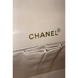 Chanel Classic Flap East West Chocolate Bar Ccfi13 176737 Beige Lambskin Shoulder Bag