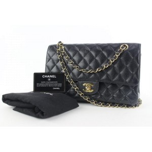Chanel Gold Chain Black Quilted Caviar Medium Classic Flap Bag 103cas428