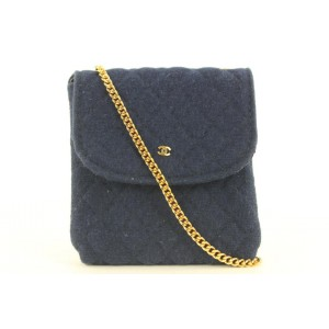 Chanel Micro Quilted Blue Classic Chain Flap Bag or Necklace 274ccs216A