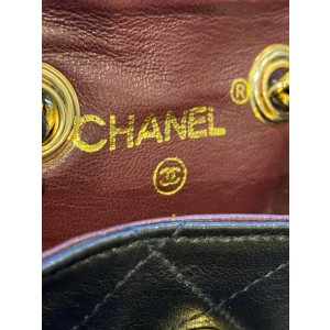 Chanel Classic Flap Nano Pouch Mini Bum Belt Quilted 1cc716 Dark Brown Lambskin Leather Clutch