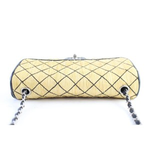 Chanel Classic Flap Quilted 14cr0702 Beige Straw Messenger Bag