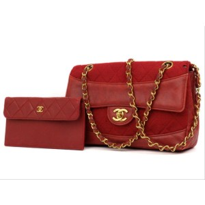 Chanel Red Quilted Classic Chain Flap Bag with Pouch 2201709