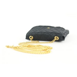 Chanel Black Quilted Satin Micro Chain Flap Bag 597ccs315