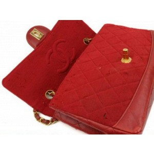 Chanel Classic Flap With Pouch 870549 Red Cotton Blend Shoulder Bag