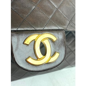 Chanel Classic Flap XL Extra Large Quilted Maxi 5c717 Dark Brown Lambskin Leather Shoulder Bag