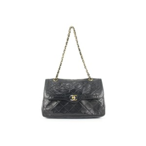 Chanel Rare Quilted Black Lambskin Limited CC Classic Chain Flap Bag 707cas32
