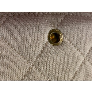 Chanel Beige Cream Jersey Quilted Small Double Flap Gold Chain Bag 858150