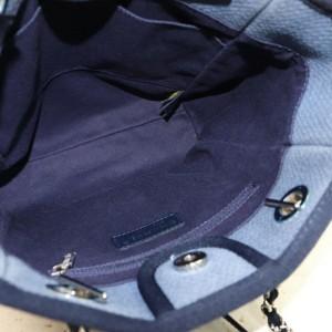 Chanel Deauville Chain Shopper 872120 Blue Canvas Tote