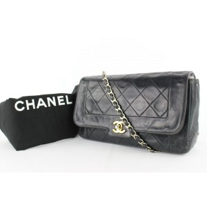 Chanel Classic Flap Diana Medium Quilted Lambskin 12cz0130 Black Leather Cross Body Bag
