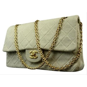 Chanel Beige Greige Quilted Grey Classic Double Flap 215857