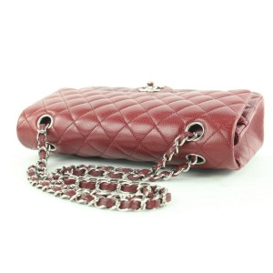 Chanel Brick Red Quilted Caviar Medium Classic Double Flap Chain Bag 495cks35
