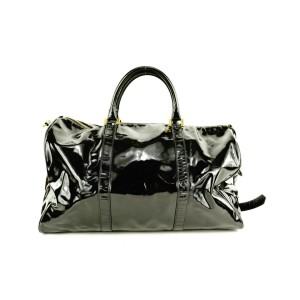 Chanel Large Black Patent CC Logo Duffle Bag with Strap 1chlm311