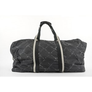 Chanel Large Black New Line Boston Duffle Travel Gym Bag 301ccs217