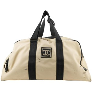 Chanel XL Beige CC Logo Sports Duffle Bag Travel 233ccs211