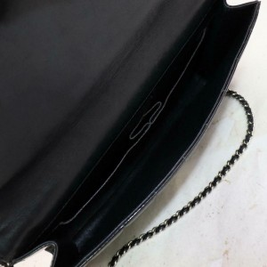 Chanel East West Chocolate Bar Chain Flap 871597 Black Patent Leather Shoulder Bag