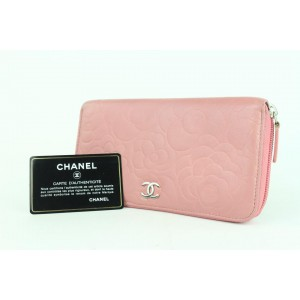 Chanel Embossed Camellia Gusset Zip Around Wallet 2cj1110 Pink Leather Clutch