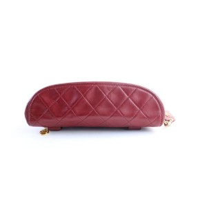 Chanel Fanny Pack Waist Pouch 1cr0703 Red Quilted Leather Cross Body Bag