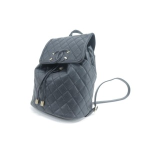 Chanel Filigree Quilted Caviar Large 3ck0115 Black Leather Backpack