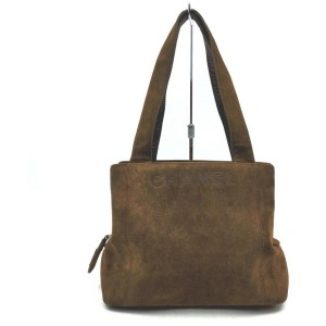 Chanel Brown Suede Logo Tote 862517