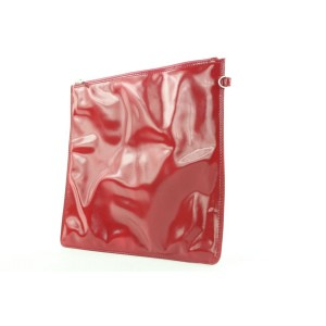 Chanel Red Patent Flat Pouch Bag 276ccs216