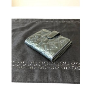Chanel Grey Quilted Patent No. 5 Compact Square 231495 Wallet
