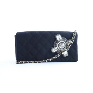 Chanel Chain Gripoix Stone 18cr0426 Black Quilted Cotton Shoulder Bag