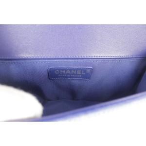 Chanel Handbag Boy Quilted Medium 6ck1202 Blue Velvet Cross Body Bag