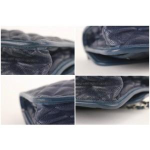 Chanel Handbag Classic Flap 1cb1126 Blue Caviar Leather Shoulder Bag