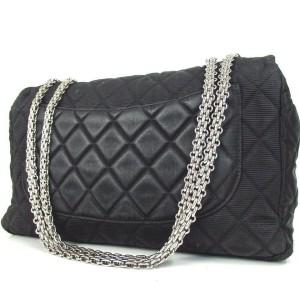 Chanel Handbag Classic Flap 2.55 Reissue Jumbo 872681 Black Nylon Shoulder Bag