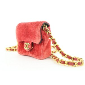 Chanel Micro Nano Red Quilted Velvet Mini Classic Flap Chain Bag 363ccs225