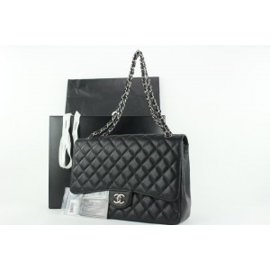 Chanel Quilted Black Caviar Leather Maxi Classic Silver Chain Flap Bag 922cas