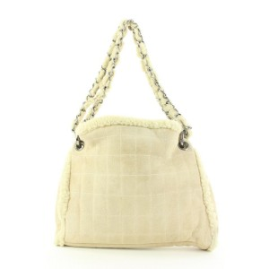 Chanel Beige Shearling Chain Hobo Bag with Pouch54ccs125