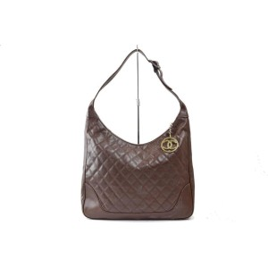 Chanel Hobo ( Ultra Rare ) Quilted Caviar 101402 Brown Leather Shoulder Bag
