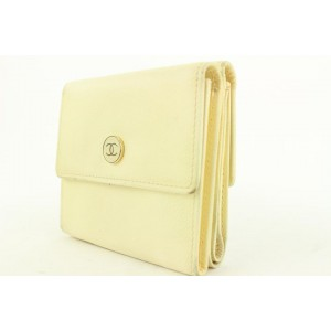 Chanel Ivory Leather CC Button Line Compact Wallet 57ccs115