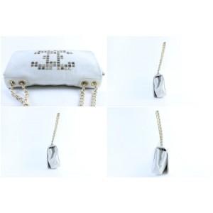 Chanel Jumbo  White CC Logo Mosaic Chain Flap 228805