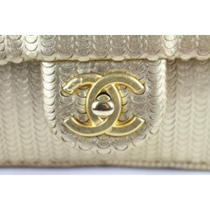 Chanel Laser Cut Small Classic Chain Flap 13ce0104 Gold Leather Cross Body Bag